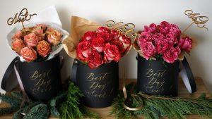 【12月特別企画】 カリグラフィーアーティスト島野真希さん×世界の花屋 「ケニアバラのメッセージフラワーボックス」